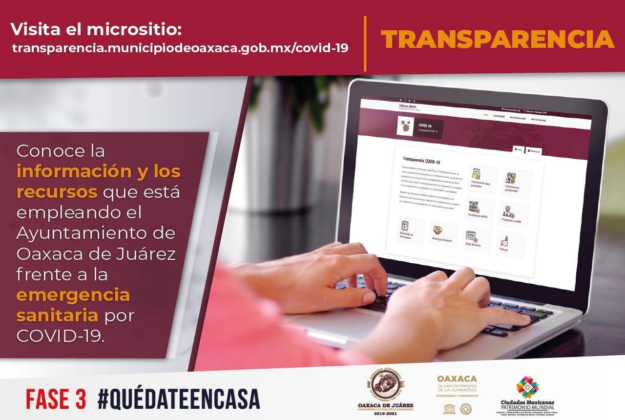 """Photo of Habilita Ayuntamiento de Oaxaca de Juárez micrositio """"Transparencia COVID-19"""""""