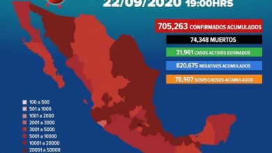 Photo of Suman 705,263 los casos positivos de covid-19 en México